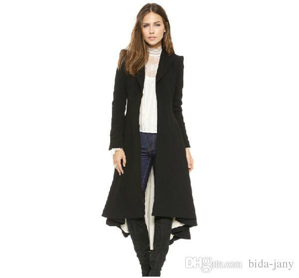 Herfst Winter Merk Wraceful Woolen Overjas Damesmode Lange Black Truil 2015 Britse stijl Tuxedo Manteau Femme Jassen
