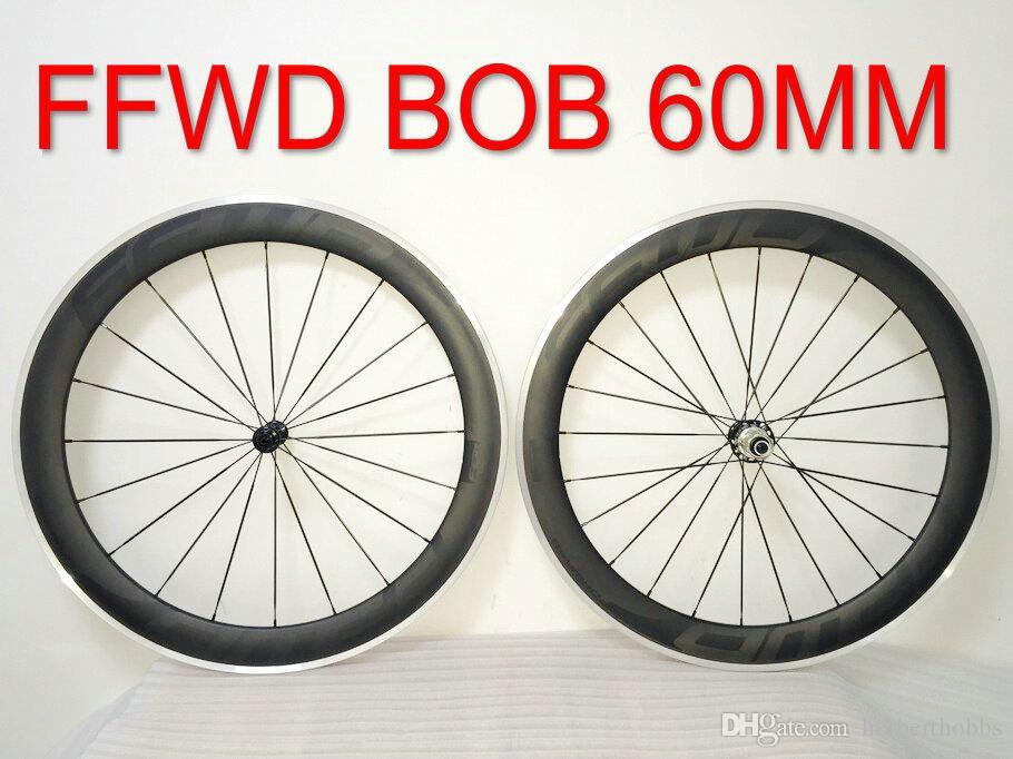 Bob FFWD R6R 60mm Liga R39 Hubs Preto Decalques Liga Alumínio Wheelset Road Rodas de Fibra de Carbono