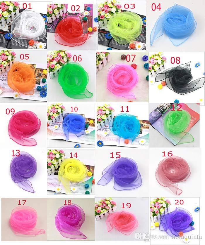 20 cores Novo 60 x 60cm Pequeno Praça Lenços Pure Silk Chiffon Sólidos dança Color Show doce de cor à prova de vento Mulheres Cachecóis