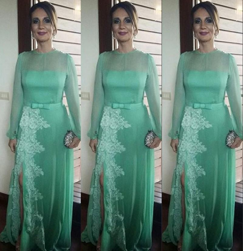 Green Chiffon Illusion Long Sleeves Evening Gowns 2016 Crew Lace Applique Side  Split Prom Dresses Plus Size Formal Party Dresses Size 16 Evening Dresses  ... 296f5c090
