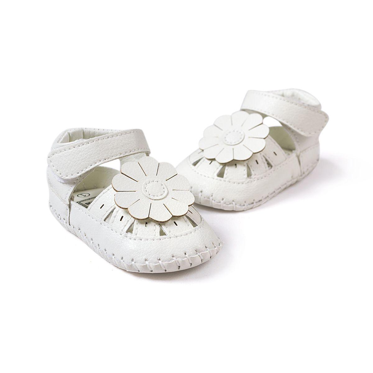 Bebê Primeiros Caminhantes Nova Moda Verão Bebê Gilrs Sandálias Tamancos Branco Plana Com Macio Infantil Criança Kid Sandálias Meninas sapatos de Bebê 0-24 meses