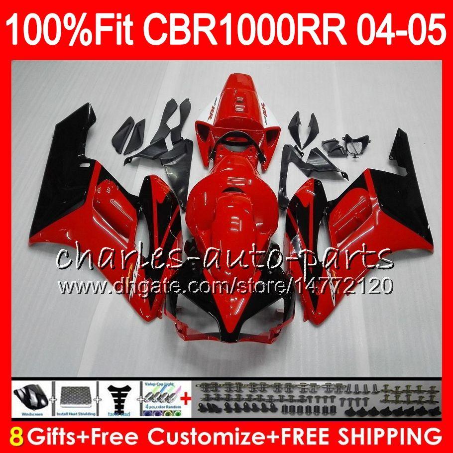 Cuerpo de inyección para HONDA CBR 1000RR 04 05 Carrocería CBR TOP rojo negro 1000 RR 79HM7 CBR1000RR 04 05 CBR1000 RR 2004 2005 Kit de carenado 100% Fit