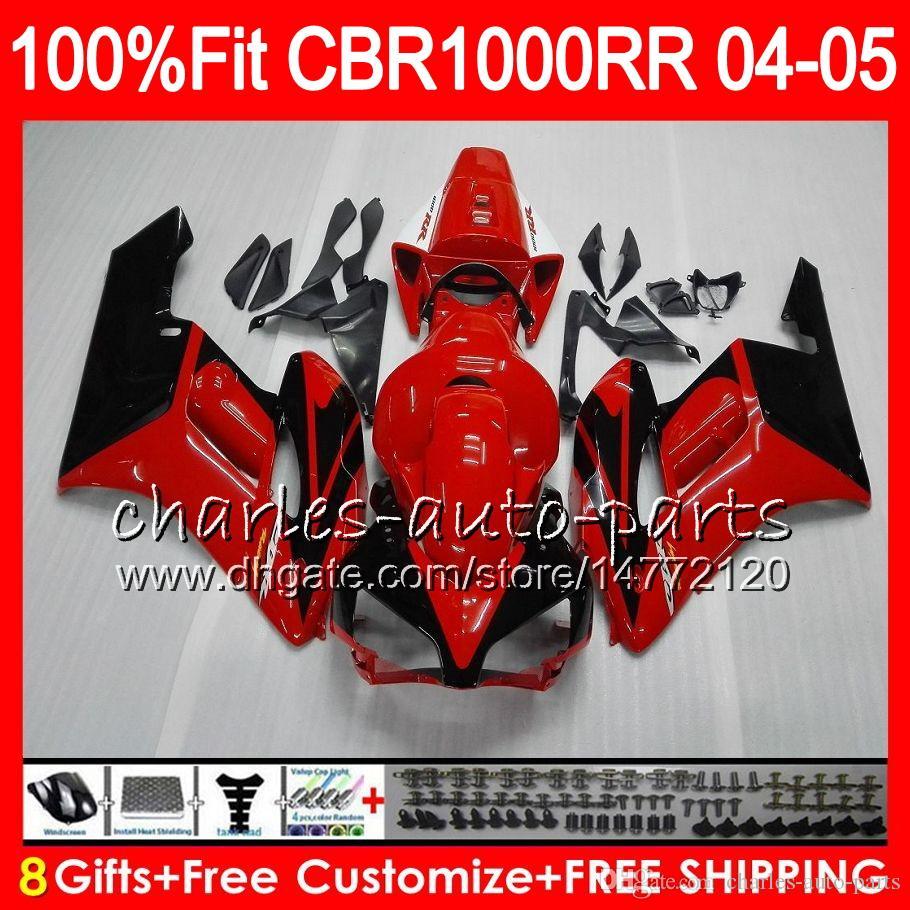 Injectie Lichaam voor Honda CBR 1000RR 04 05 Carrosserie CBR TOP ROOD BLACK 1000 RR 79HM7 CBR1000RR 04 05 CBR1000 RR 2004 2005 FUNLING KIT 100% FIT