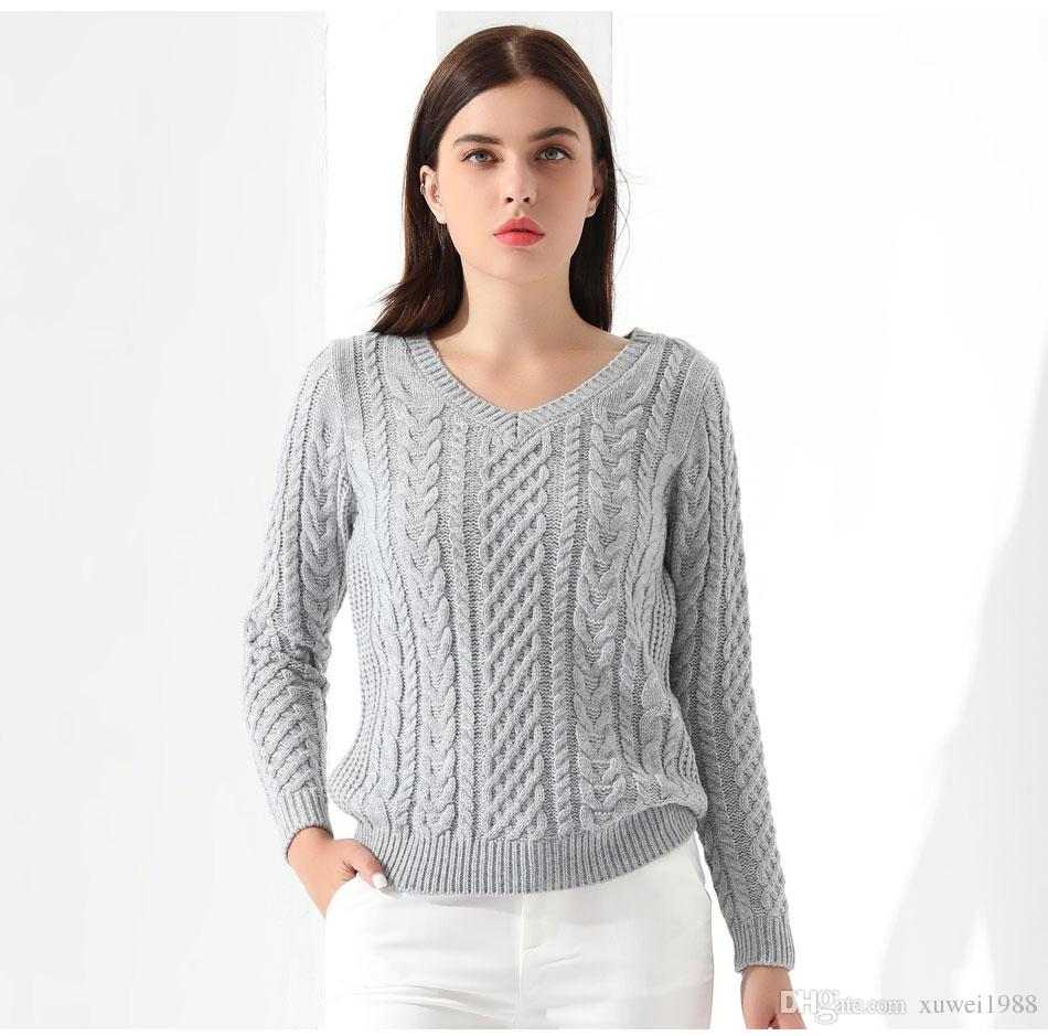 2018 Women Sweaters And Pullovers Long Sleeve Knitted White ...