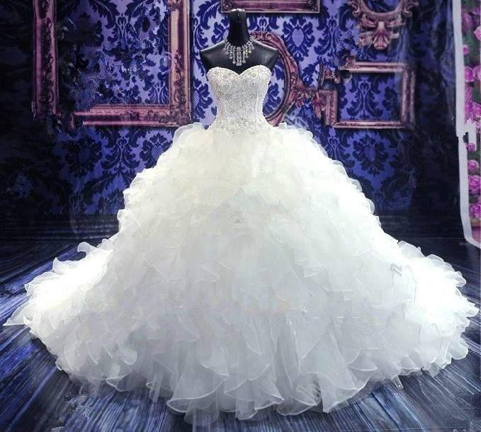 낭만적 인 골치 아픈 건된 크리스탈 Organza 볼 가운 웨딩 드레스와 프릴 2017 법원 기차 웨딩 가운 맞춤 제작