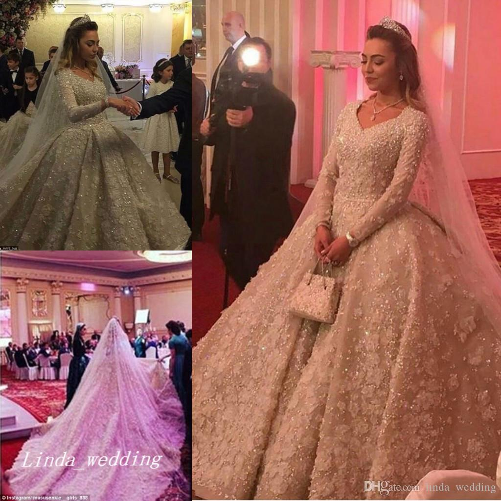 Luxury Vintage Wedding Dresses Romantic Ball Gown Lace Long Sleeves ...