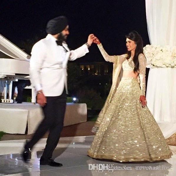 Bling Arapça Dubai Örgün İki Adet Abiye Sparkly Payetli Uzun Kollu 2016 Balo Dressess Özel Durum Parti Abiye Ucuz