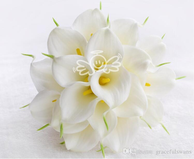 Calla Lily Bridal Bouquets Yellow and White Two Colors on Sale Wedding Flowers Bridesmaid Bouquet with Lace Charming Flower Decorations