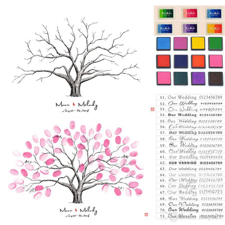 2018 Thumbprint Family Tree Sign In Wedding Thumbprint Guest Book