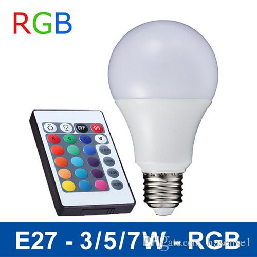 3W 5W 7W LED Light Bulbs SMD5050 E27 Smart RGB Bulbs Lamps For Home Bars KTV Cafes Halls Party Festivals Decoration