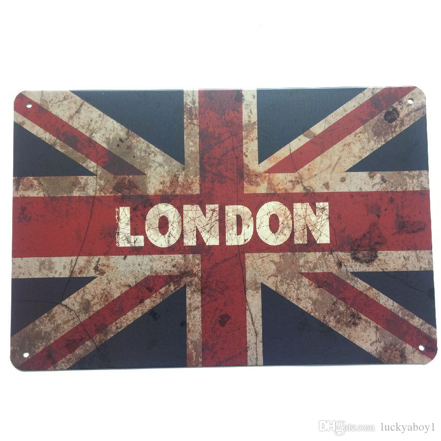 London UK United Kingdom Retro Vintage Metal Tin sign poster for Man Cave Garage shabby chic wall sticker Cafe Bar home decor