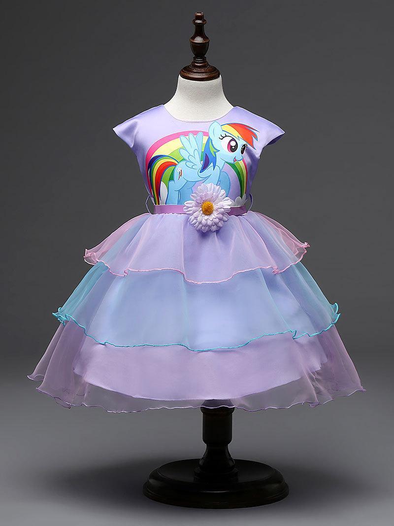 Neue Sommer-Kleid-Baby-Kleidung-Kinder lila überlagerte Karikatur-Pony-Kleider mit Gurt-Kind-Partei-Prinzessin Dress Vestido plus Größe 2T-8T
