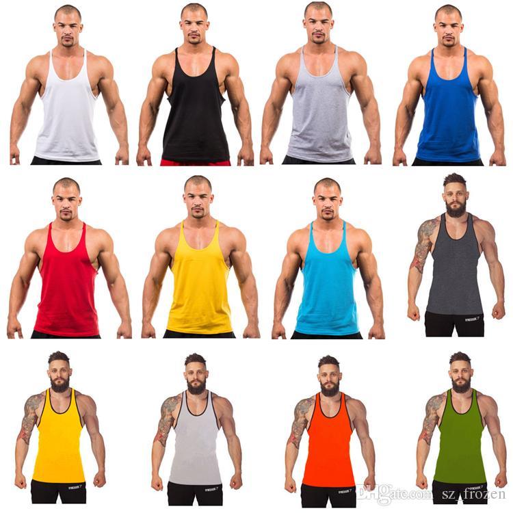 0ce4fa4df Compre 12 Cores De Algodão Stringer Musculação Equipamento De Fitness Gym  Top Regata Sólida Singlet Y Volta Esporte Roupas Colete Navio Livre A 0383  De ...