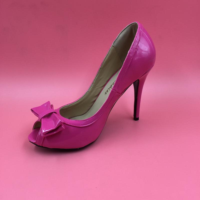 2016 Bridal Wedding Pink Shoes Slip On Women Denim Sandals Custom Made Plus Size Bow Peep Toe Real Image High Thin Heels Bridal