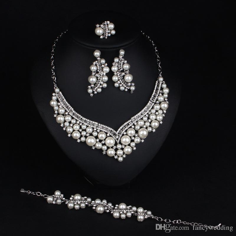 Perlen Earing Halskette Armband Ring vier in einem Brautset Brautschmuck Brautschmuck Hochzeiten Veranstaltungen