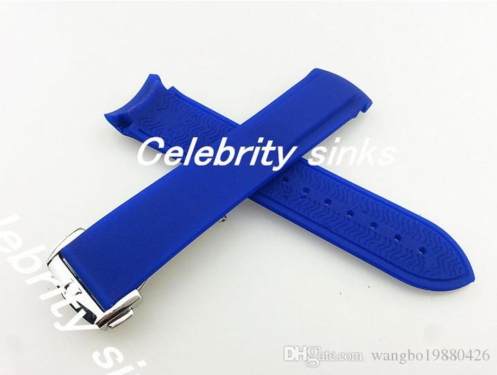 20 mm 18 mm buckle The new high-grade silicone rubber strap blue waterproof diving silver buckle strap For Omega Watch