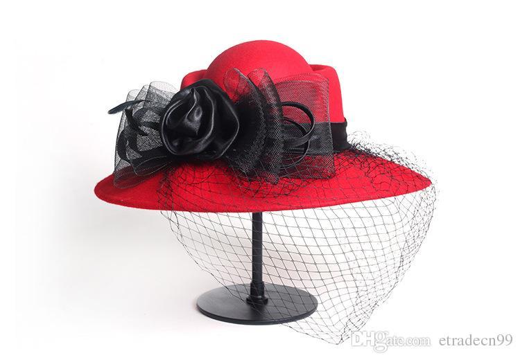 Las señoras de la calidad del velo de la bóveda de ala ancha de lana visten sombreros para el otoño las mujeres de invierno de lana floral visten las tapas para la fiesta de la boda