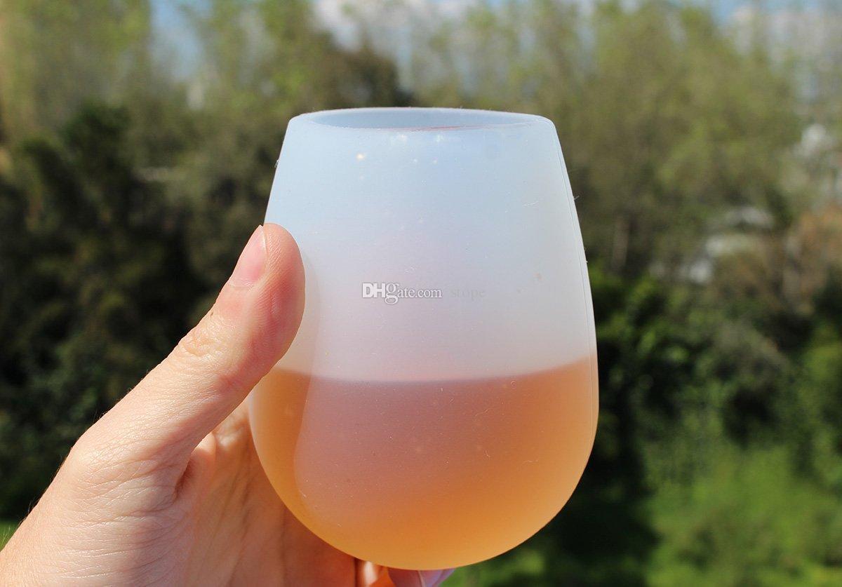 Venta caliente El vino rojo de silicona portátil Acampar al aire libre taza de cerveza de vidrio de gel de sílice Protección del medio ambiente salud práctica