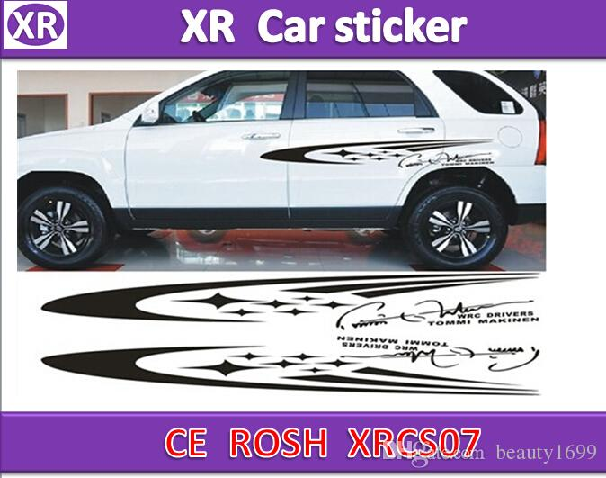 XRCS07 car body sticker 100x15cm(Left/Right) Meteor cartoon Cute Decorative garland stickers personalized Vehicle Car Waistline Black Stick