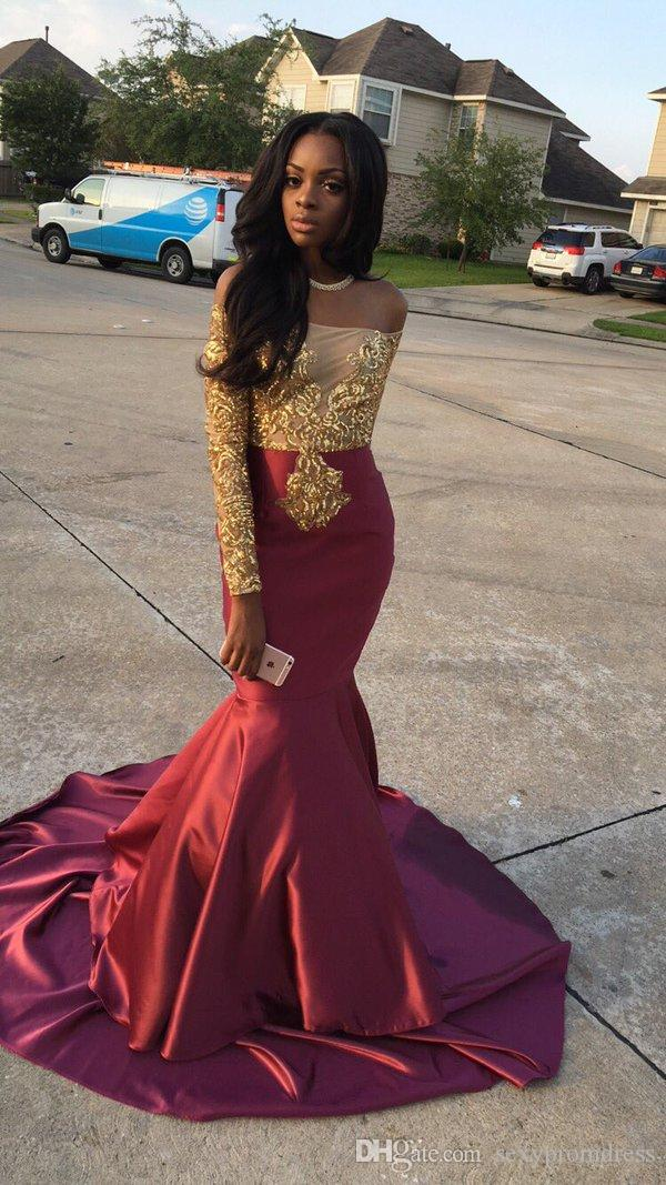 Charming African Style Off Shoulder Prom Dresses 2016 Gold And Burgundy Evening Gowns For Black Girls Long Sleeve Sweep Train Formal Dresses
