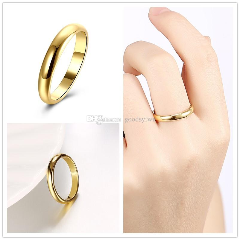 Hq Simple Smooth Glossy Vintage Round Elegant Finger Ring Yellow
