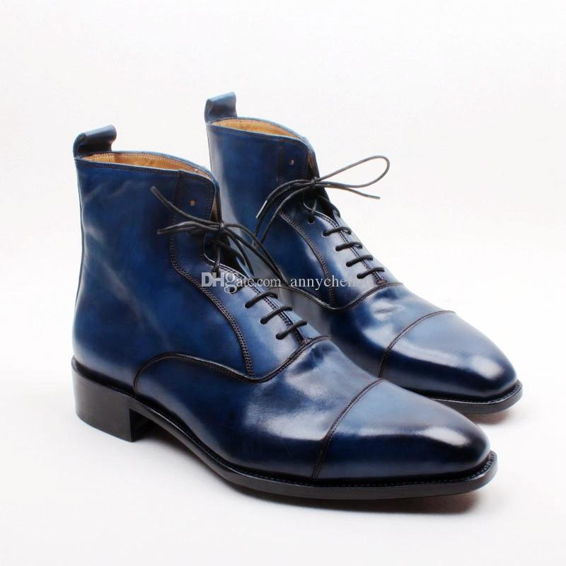 5ac14dbd4e4 Men S Boots Custom Handmade Shoes Genuine Calf Leather Square Toe Lace Up Hand  Painted Breathable Color Navy Fashion Boots HD B035 Buy Shoes Online Suede  ...