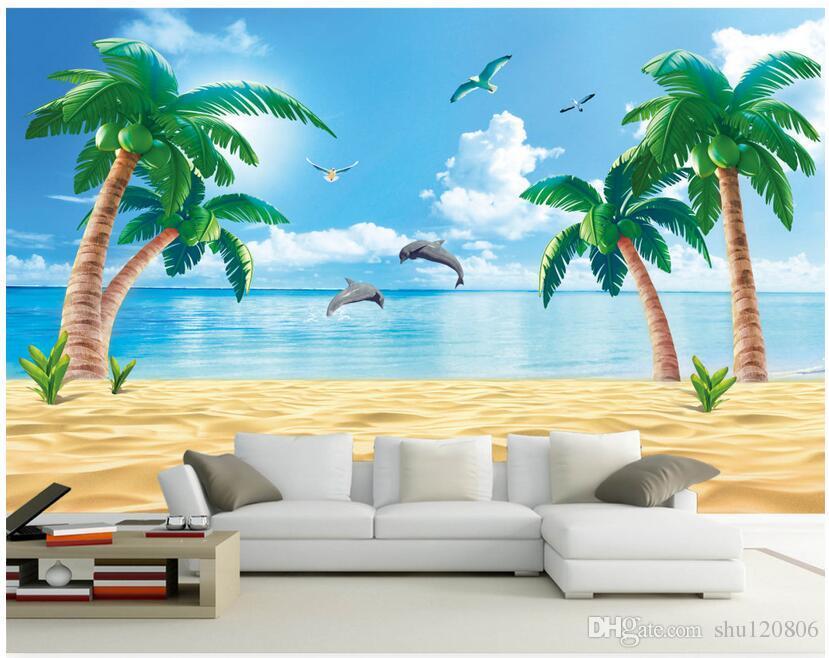 Custom 3 D Photo Wallpaper Wall Murals 3d Wallpaper Beach: 3d Wallpaper Custom Photo Mural Beach, The Coconut Home