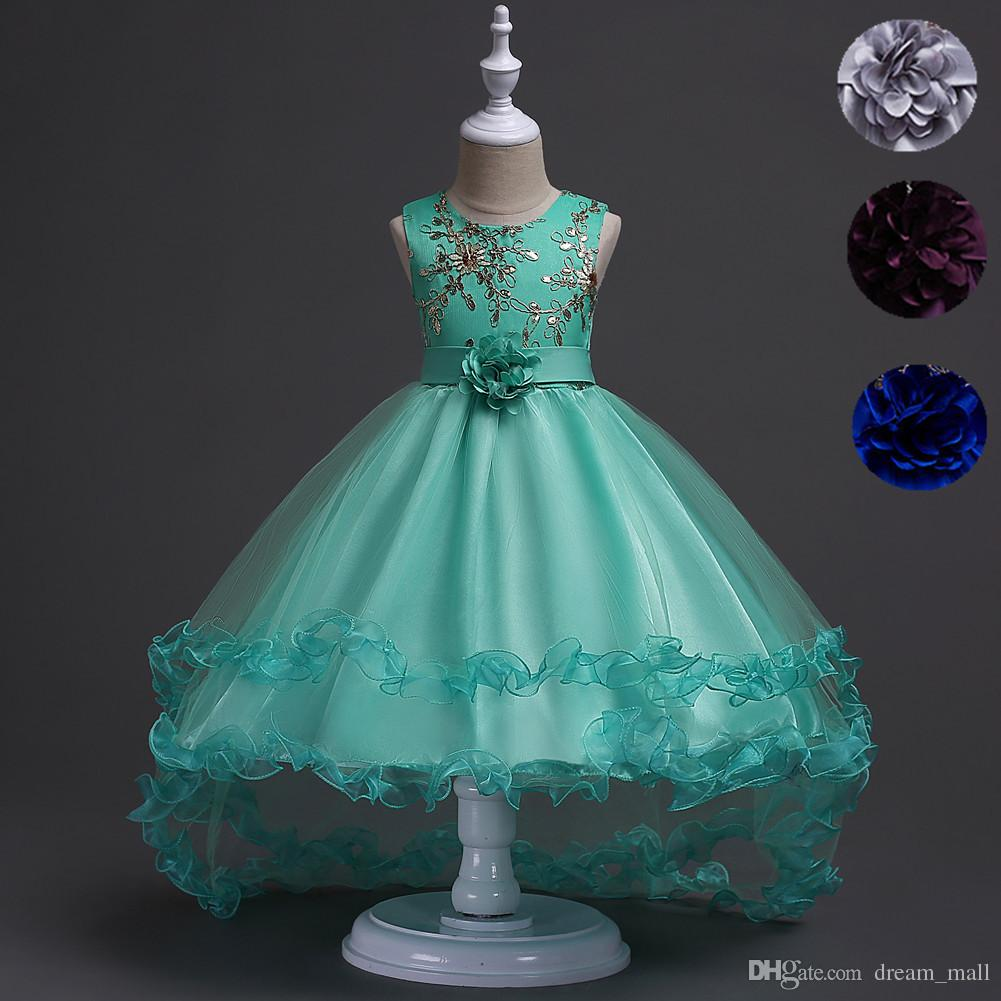 Short Front Long Back High Low Flower Girls Junior Wedding Dresses Kids Trailing Party Prom Gowns Children Clothing