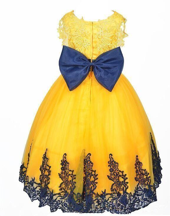 Vintage gul prinsessa golv längd boll klänningar flickor pageant klänningar blomma flicka klänning för bröllop spets approcessfödelsedagsfest klänning