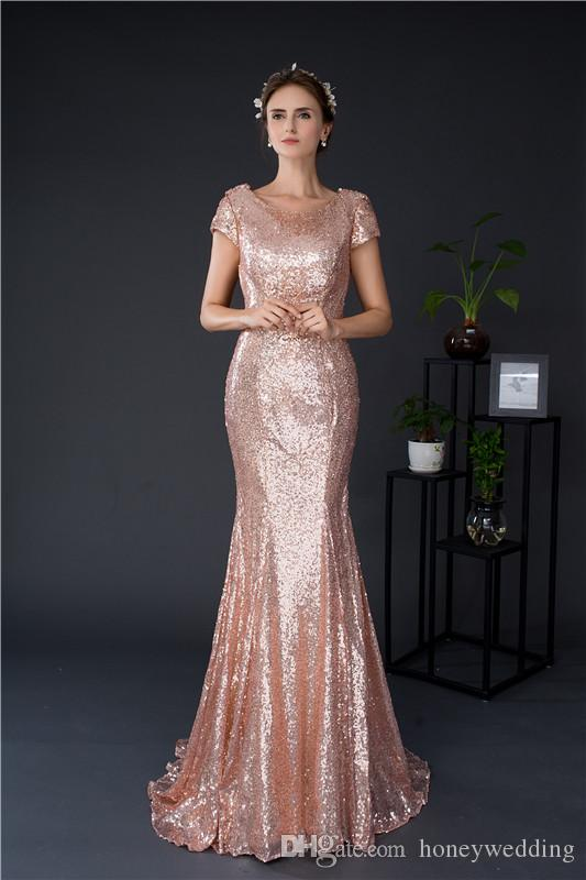 b92015180a7 Rose Gold Sequin Mermaid Bridesmaid Dresses Cheap Cap Sleeves Long Wedding  Guest Dress In Stock Real Photo Bridesmaids Dress Under 50 Fuchsia  Bridesmaid ...