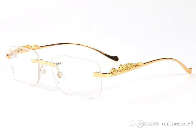 2019 مثير ليوبارد الساقين بدون شفة الرجال الذهب إطار المعادن الجاموس القرن نظارات المرأة جولة دائرة مستطيل نظارات شمسية مع صندوق