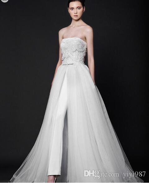 High quality Two pieces Fashion Long Trousers Sexy Strapless Wedding Dresses 2018 New Avant-garde Luxury Bridal Gowns Custom made