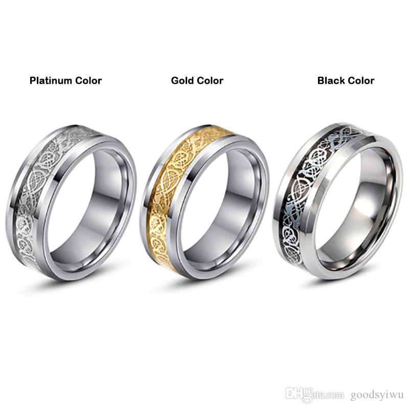 ValentineS Day Vintage Chinese Dragon Tungsten Steel Golden Ring For Men Lord Wedding Titanium Rings Band New Punk Jewelry Rose Gold
