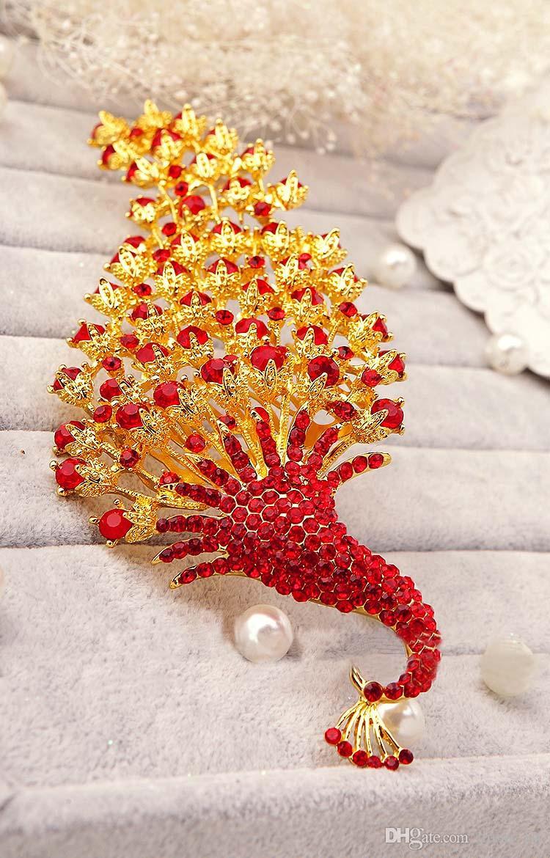 Феникс форма свадебные аксессуары для волос 2016 очаровательная золото красный кристалл диадемы заставки для новобрачных высокое качество EN40610