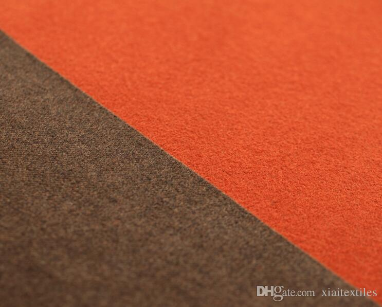 Orange double-sided European American High-end Elegant Fashion Womens Stripe Wool fabrics for Cloth Overcoat Cashmere skirt wool fabric B171