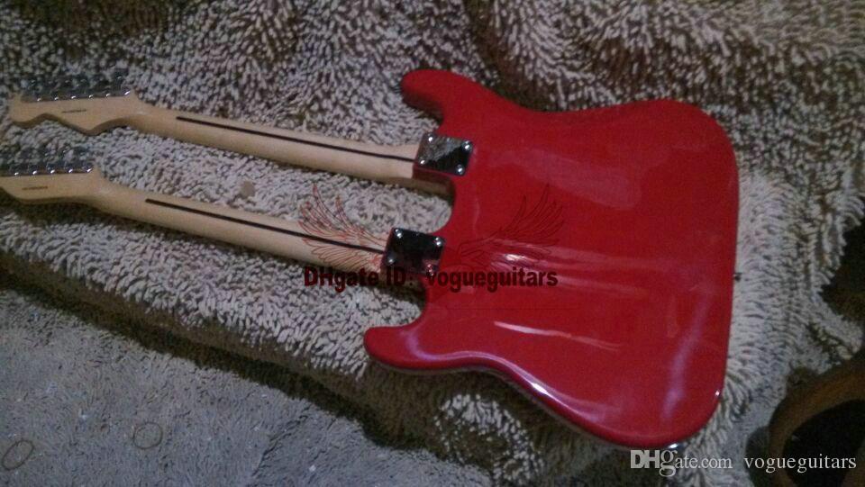 Ny anpassad butik röd dubbel nacke elektrisk gitarr hög kvalitet gratis frakt