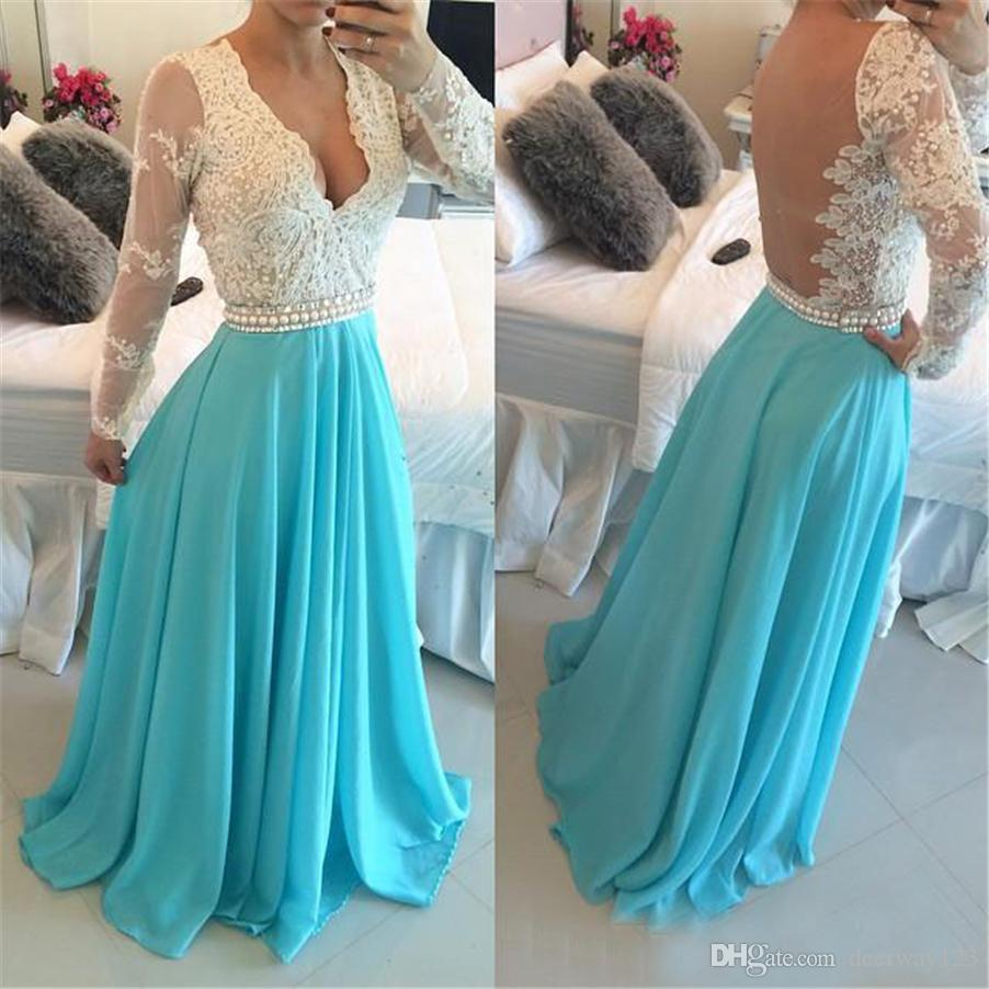 Elegant V Neck Sheer Back Lace Prom Gowns A Line With Long Sleeves ...