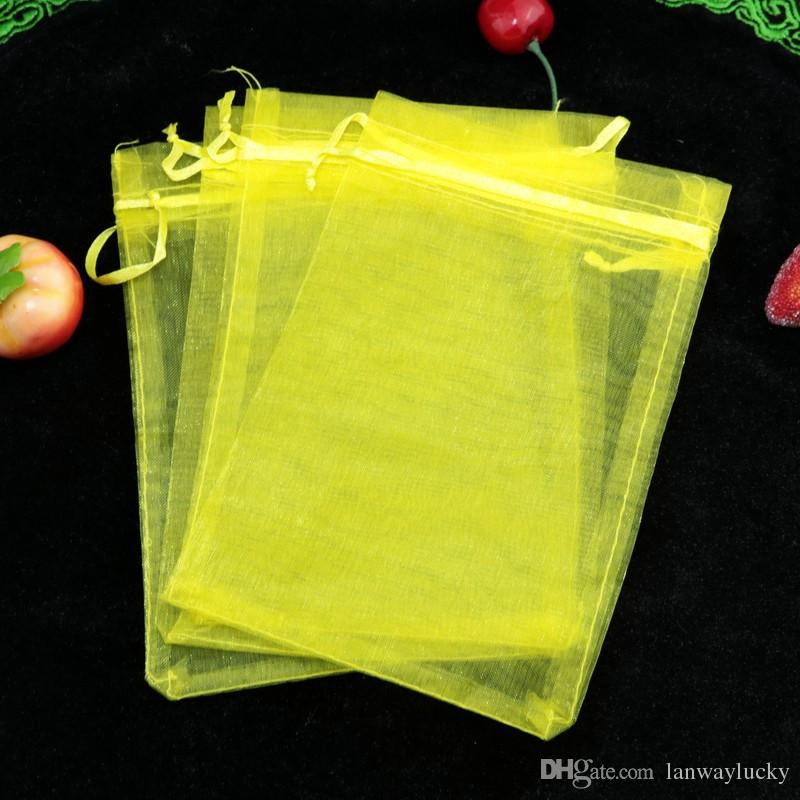 Yellow Sheer Christmas Organza Drawstring Pouches Jewelry Party Small Wedding Favor Gift Bags Packaging Gift Candy Wrap Square 5X7cm