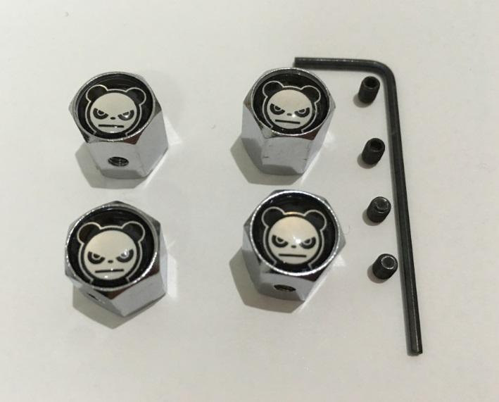 the panda face pattern Metal Anti-theft Style Car Wheel Tire Valves Tyre Dust Caps for all car