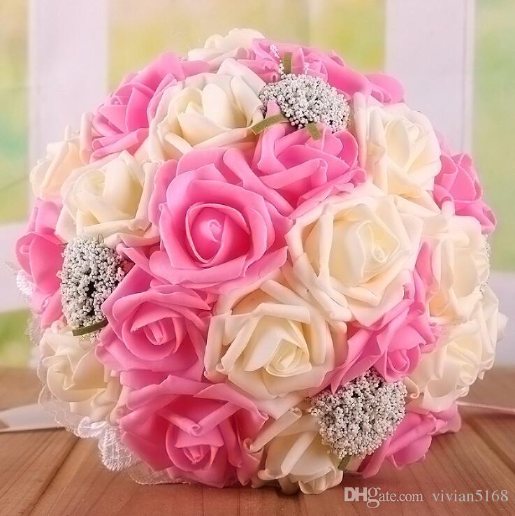 Bouquet de casamento nupcial bonito todos os bouquets artificiais da flor das pérolas da flor da flor artificial da flor artificial com o presente 9 cores