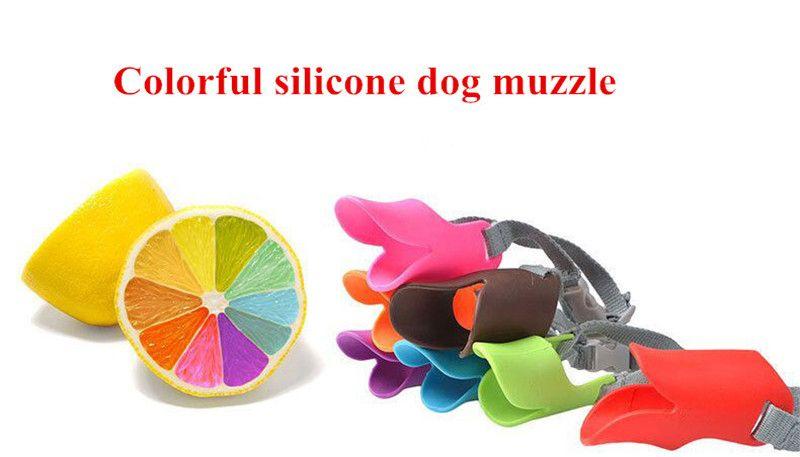 D22 العلامة التجارية الجديدة الملونة قابل للتعديل سيليكون الكلب كمامة منع الكلب ينبح الحجم S للكلاب الصغيرة