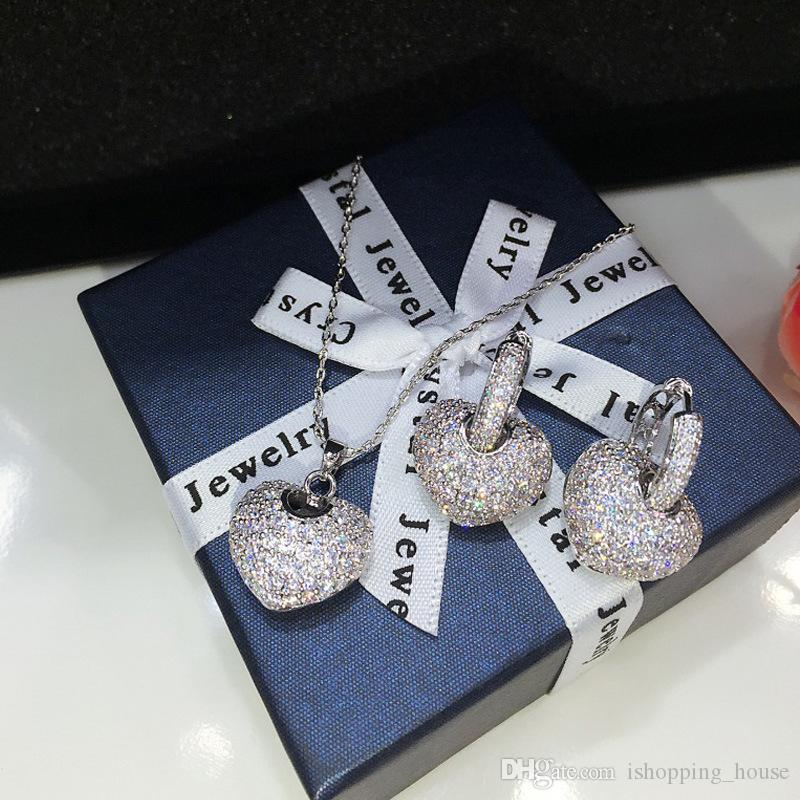 Europe et Amérique femmes Bijoux de mariage Ensemble plaqué or blanc Rose Sparky CZ Coeur Boucles d'oreilles Collier pour la jeune mariée pour soirée de mariage