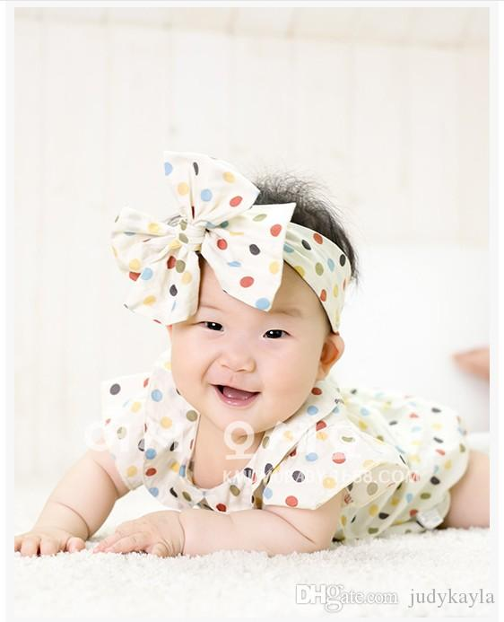 2016 유아 아기 Rompers 유아 소년 여자 다채로운 머리띠 신생아 여름 짧은 소매 Jumpsuits / lot와 다채로운 땡땡이 점쟁이