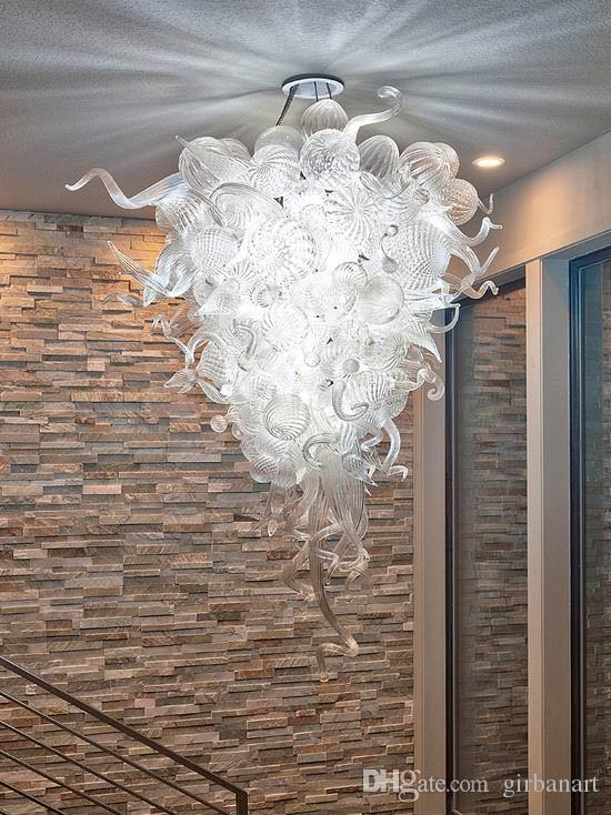 AC 110v/240v LED Light Source Hot Sale Style Murano Hand Blown Clear Glass Ball Chandelier For New House Decoration