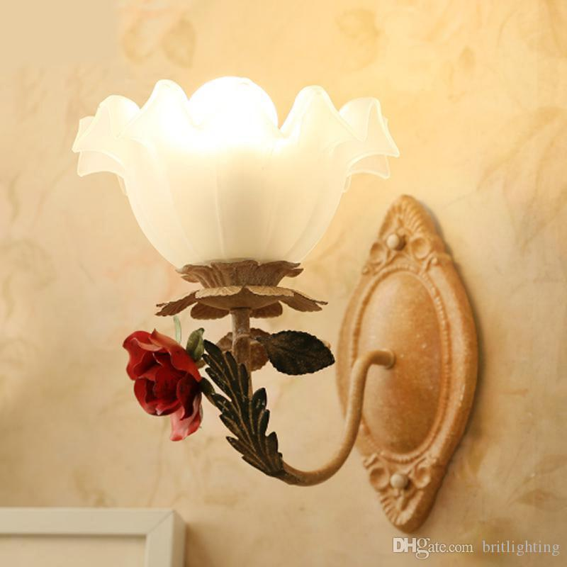 Living Room Wall Lamp American Rural Grass Lamp Iron Snuff Clothing ...