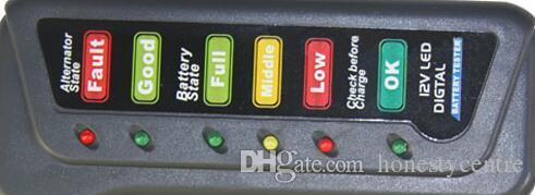 12V Car Motorcycle LCD Digital Vehicle Battery Alternator Tester 6 LED Display Diagnostic Tool Indicate