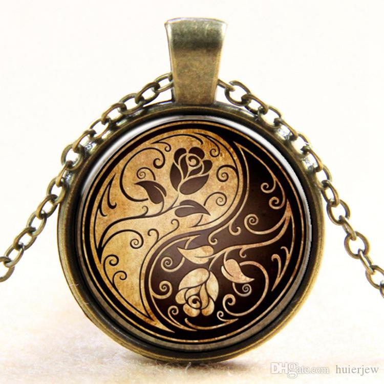 Necklace Pendants Vintage tree life tree picture glass cabochons antique bronze chain necklace fashion jewelry Locket Chain Necklaces