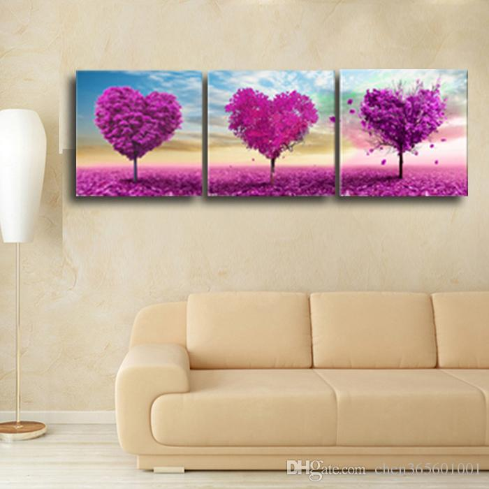 3 Panels Wall Painting Printed On Canvas Heart Trees Beautiful Canvas Prints For Modern Home Decoration