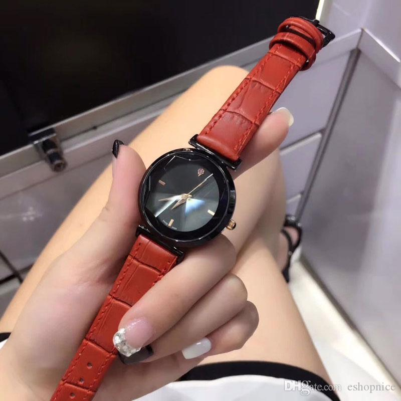 Dress brand ladies watches luxury 35mm dial Genuine Leather Fashion quartz watch for women female girl gift Water Resistant Montre Femme
