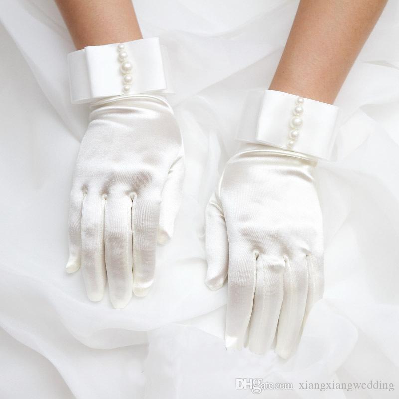 Guantes nupciales Muñeca Muñeca Pearl Blanco Marfil Guantes de boda Vestido Vestido de párrafo corto Mits Accesorio de boda Barato